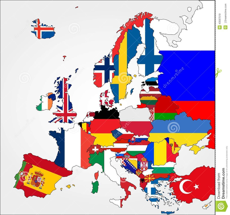 Carte Fortement Détaillée De L'europe Avec Des Drapeaux De pour Carte Des Pays De L Europe