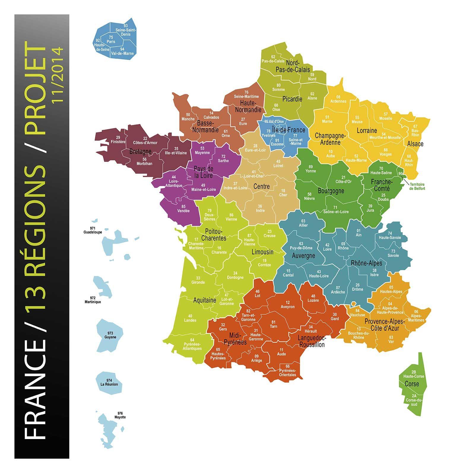 Carte-France-13-Regions | Mapa De Francia, Regiones, Francia destiné Carte Des 13 Régions
