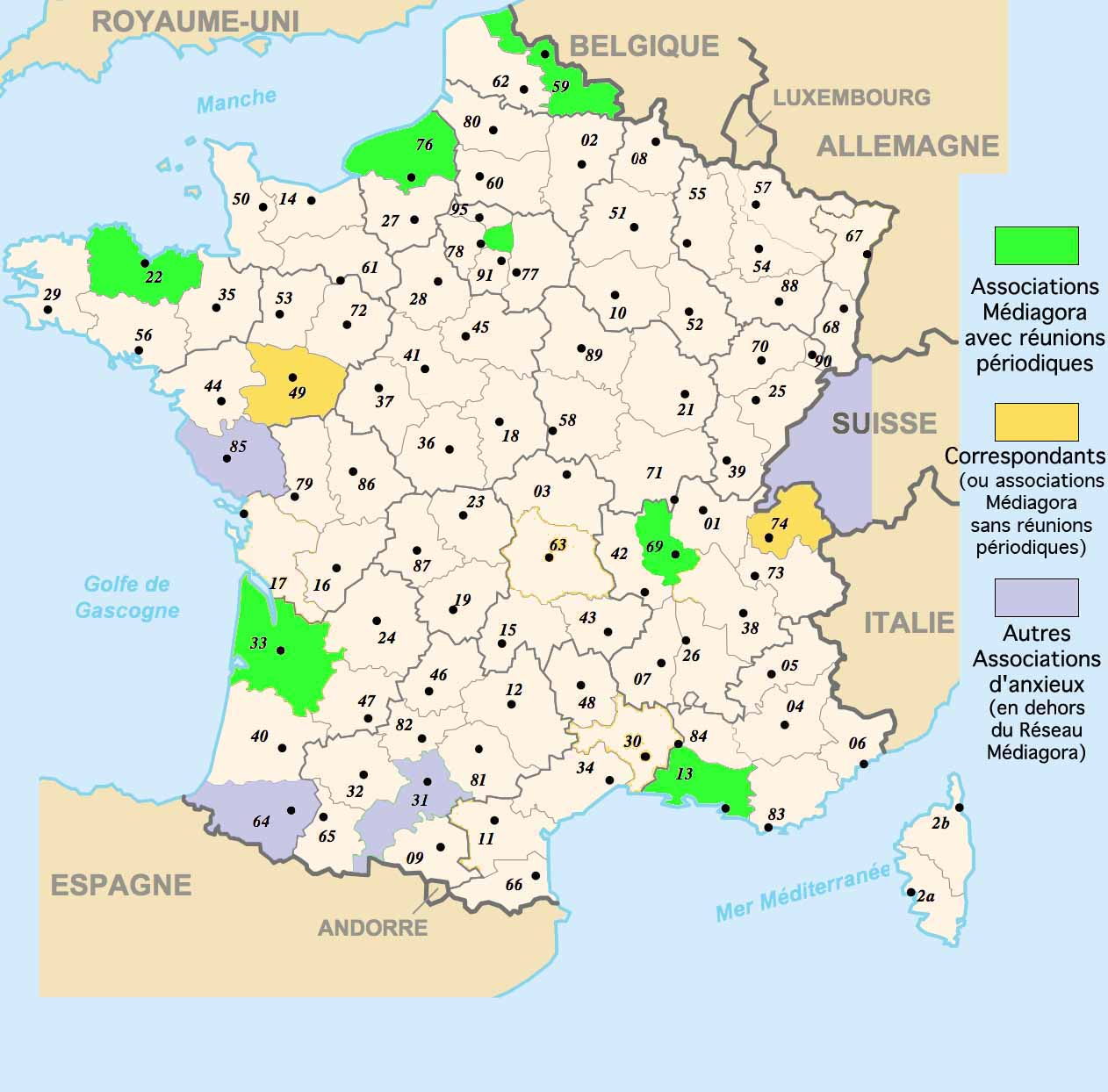 Carte, France, Associations, Correspondants, Médiagora avec Département 13 Carte