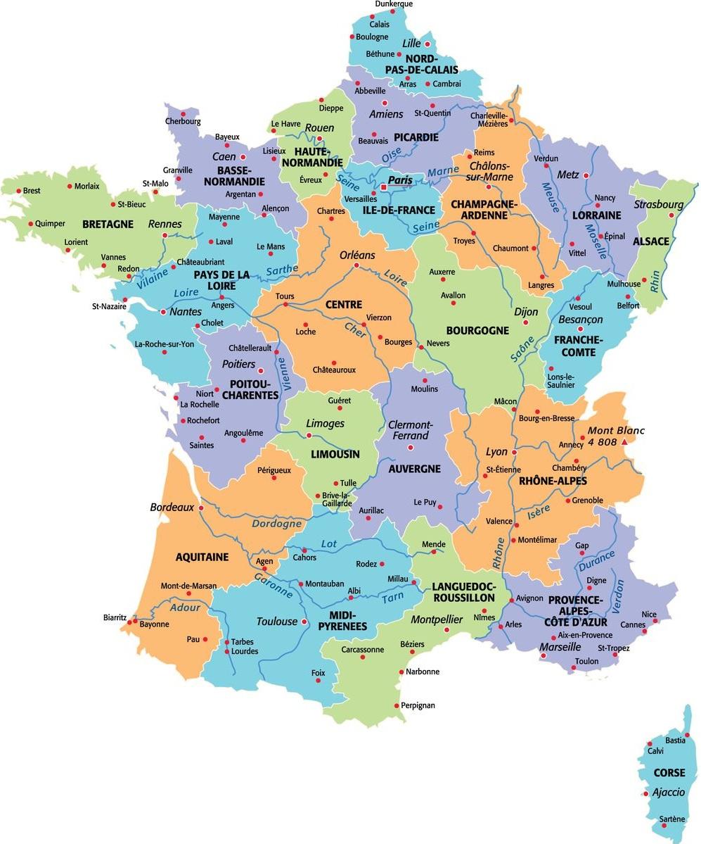 Carte France Département Région | Carte France Département destiné Carte Region Departement