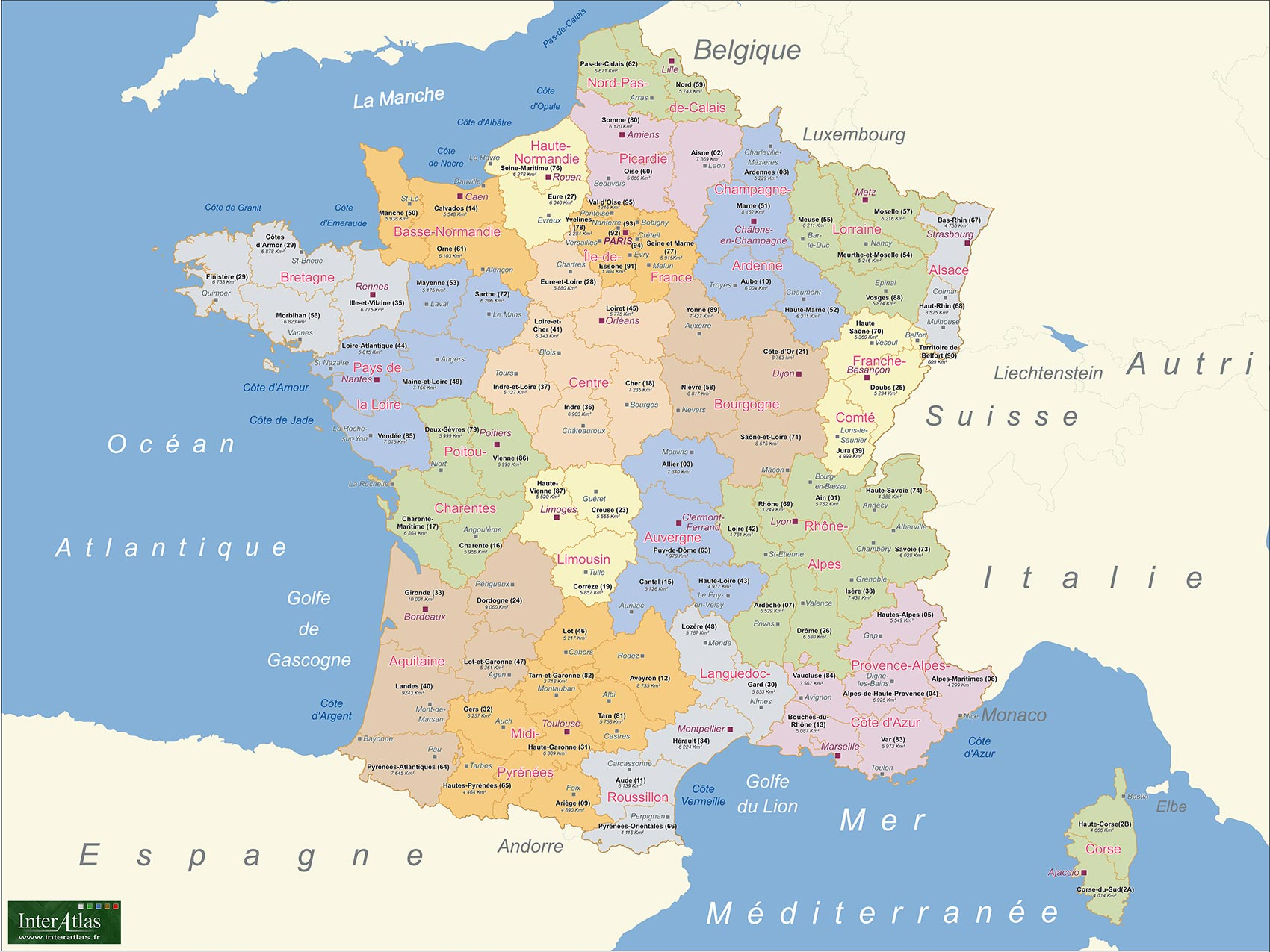Carte France Departements Superficie concernant Carte De France Des Départements