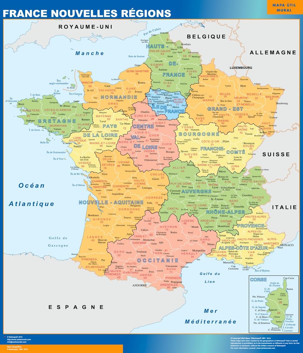 Carte France Geante Nouvelles Regions Impression Numérique tout Carte Des Nouvelles Régions