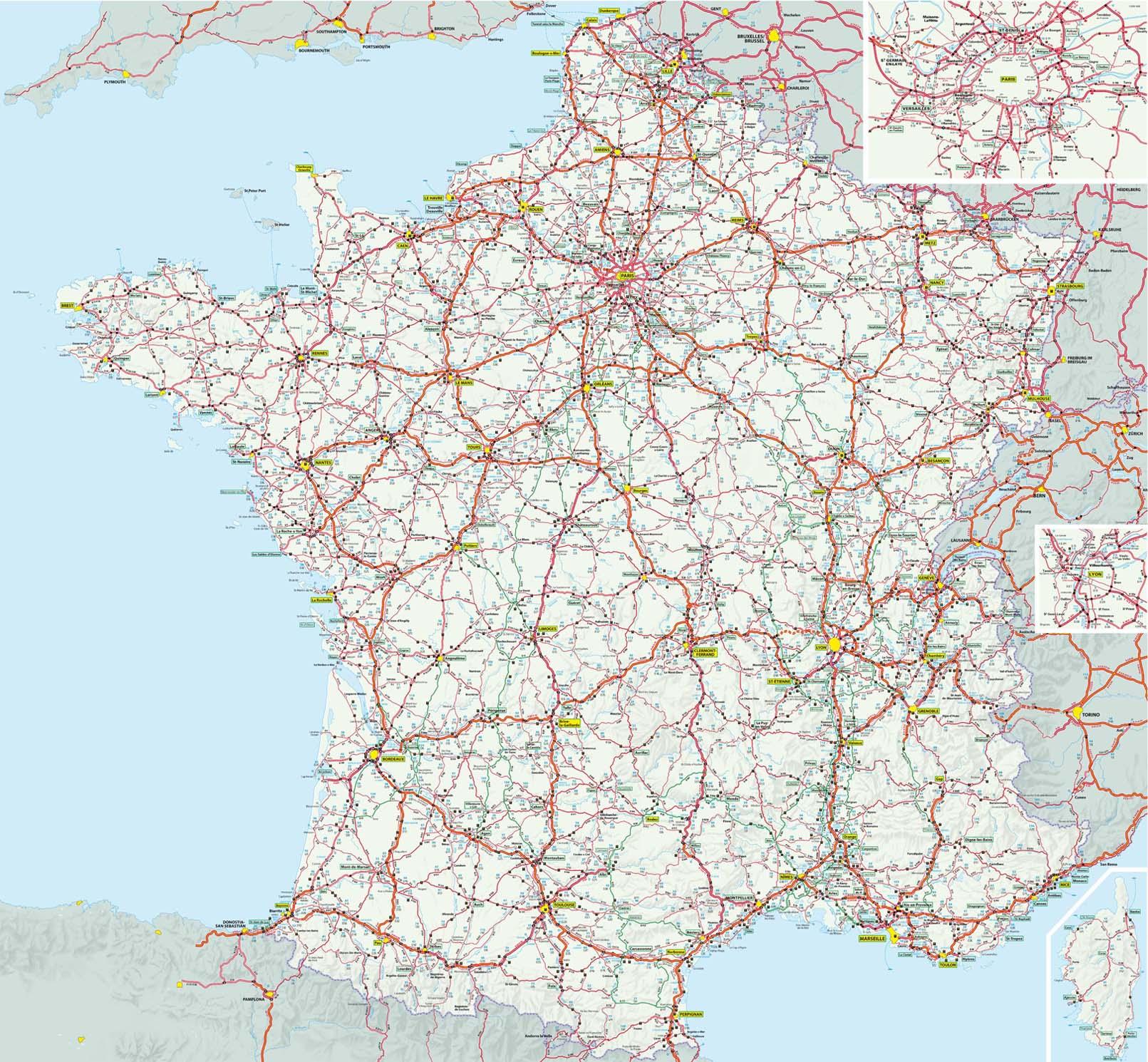 Carte France Grands Itineraires Michelin intérieur Carte De France Detaillée Gratuite