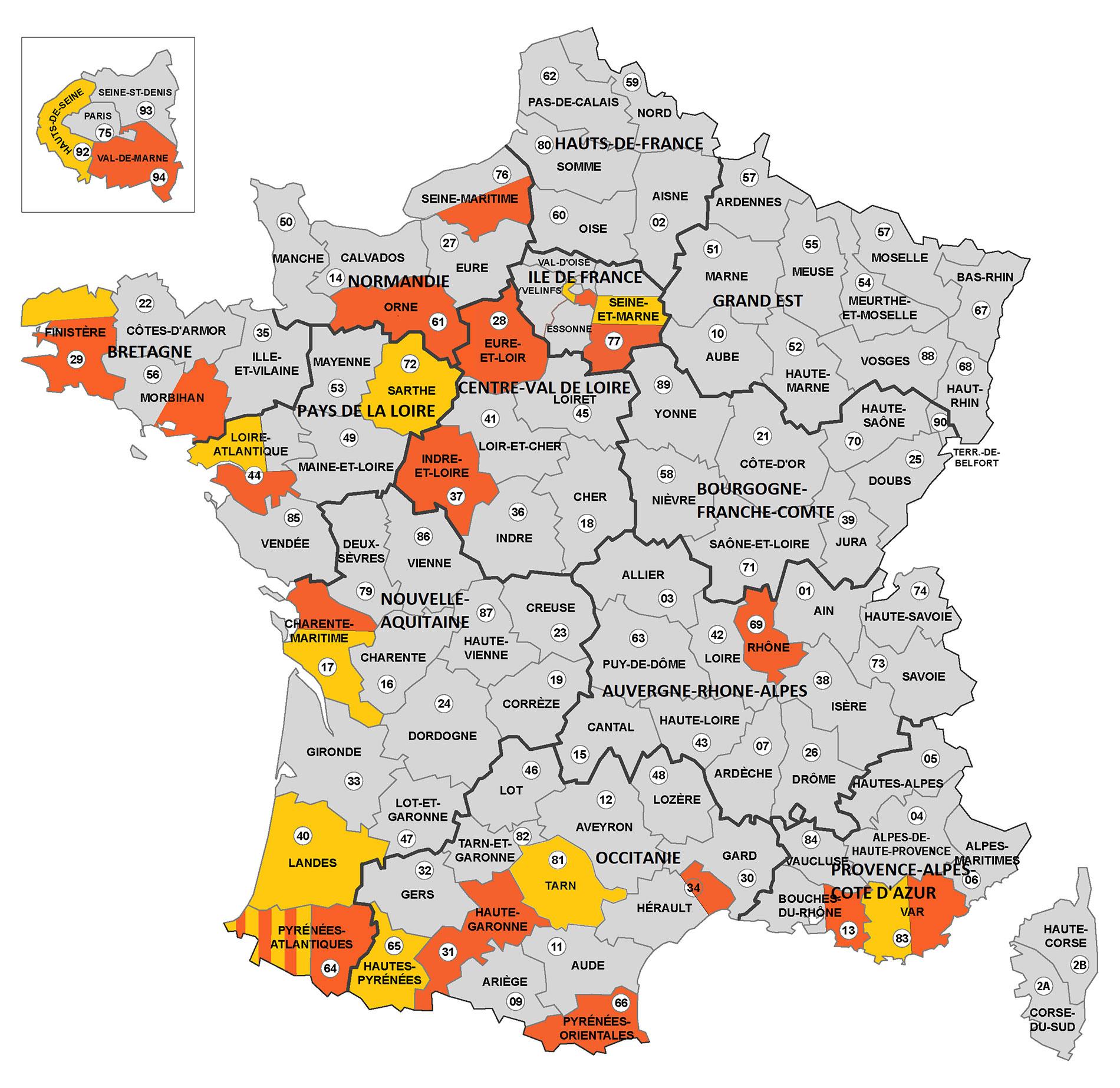 Carte-France-Implantation-Departements-Regions - Réseau dedans Départements Et Régions De France