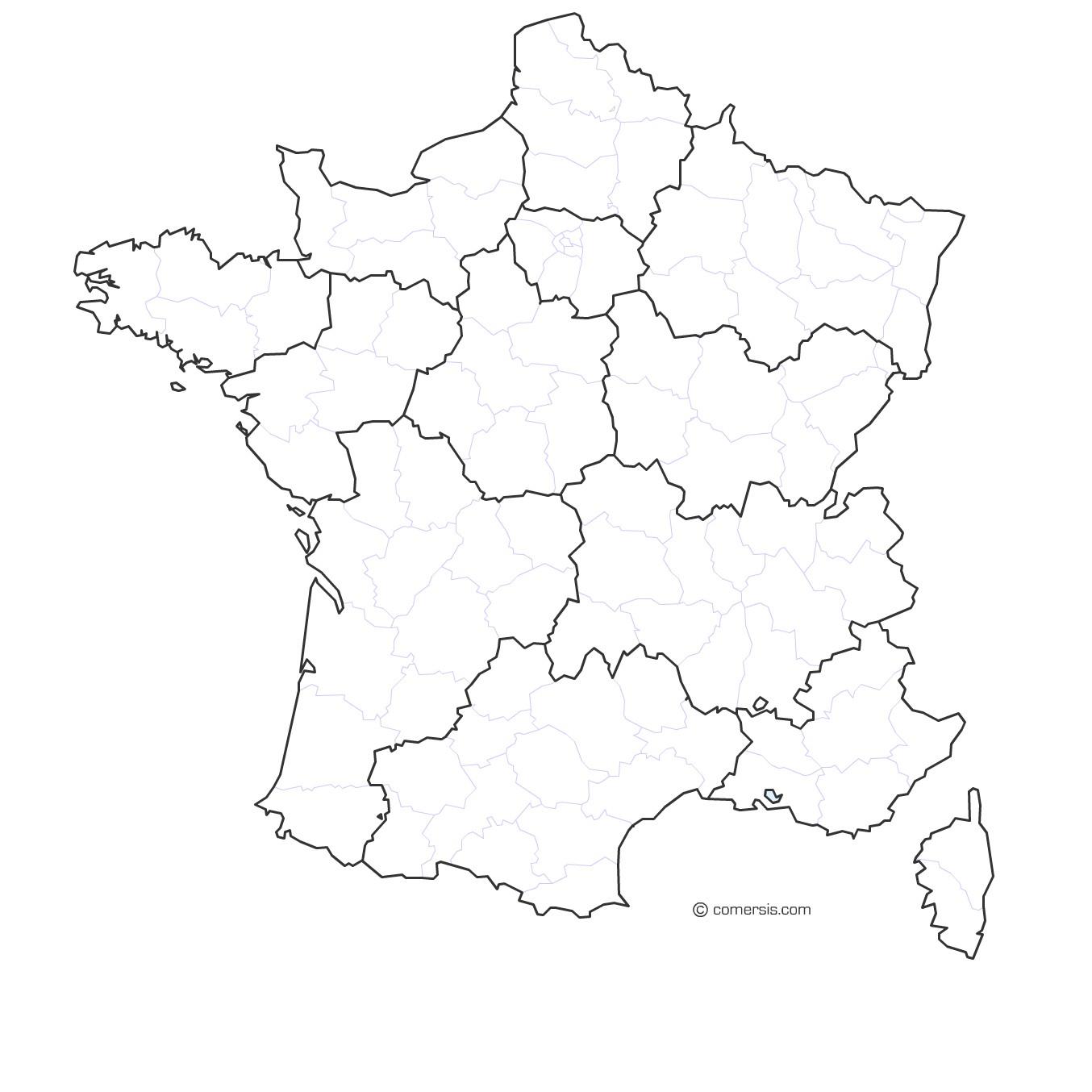 Carte France Par Regions Et Départements destiné Carte Région France 2017
