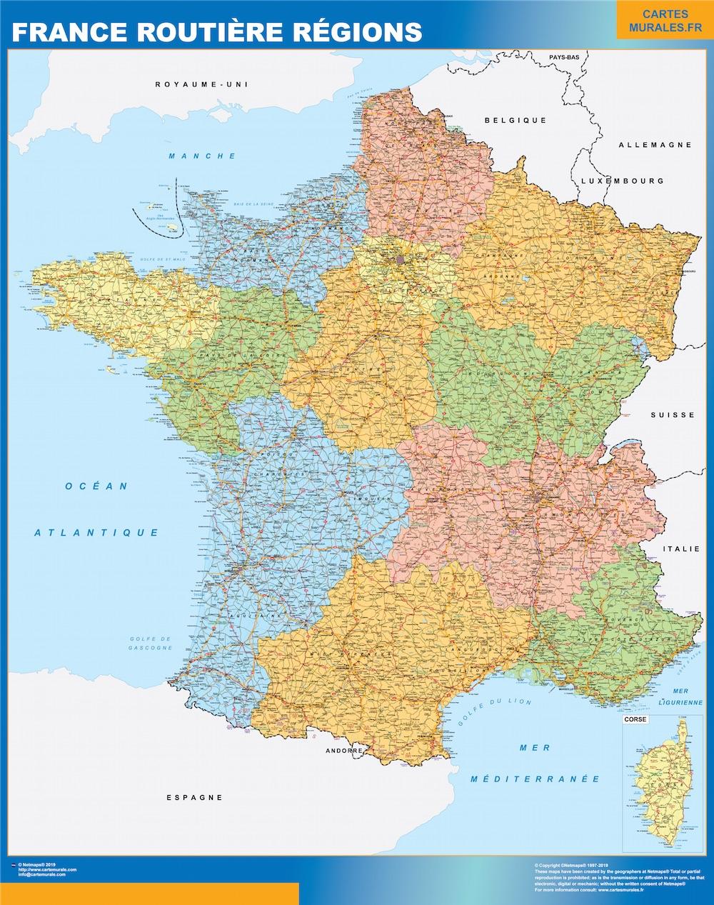 Carte France Plastifiée Routiere Regions à Carte De France Avec Les Villes
