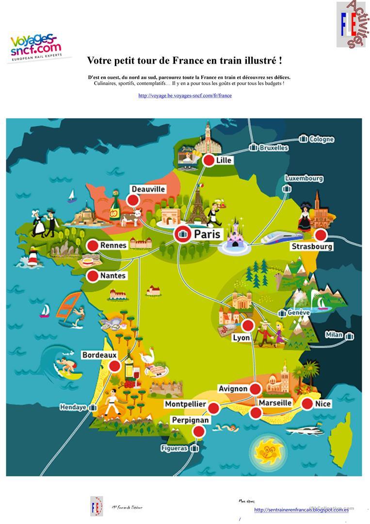 Carte France Tour En Train - Français Fle Fiches Pedagogiques dedans Carte De France Ludique