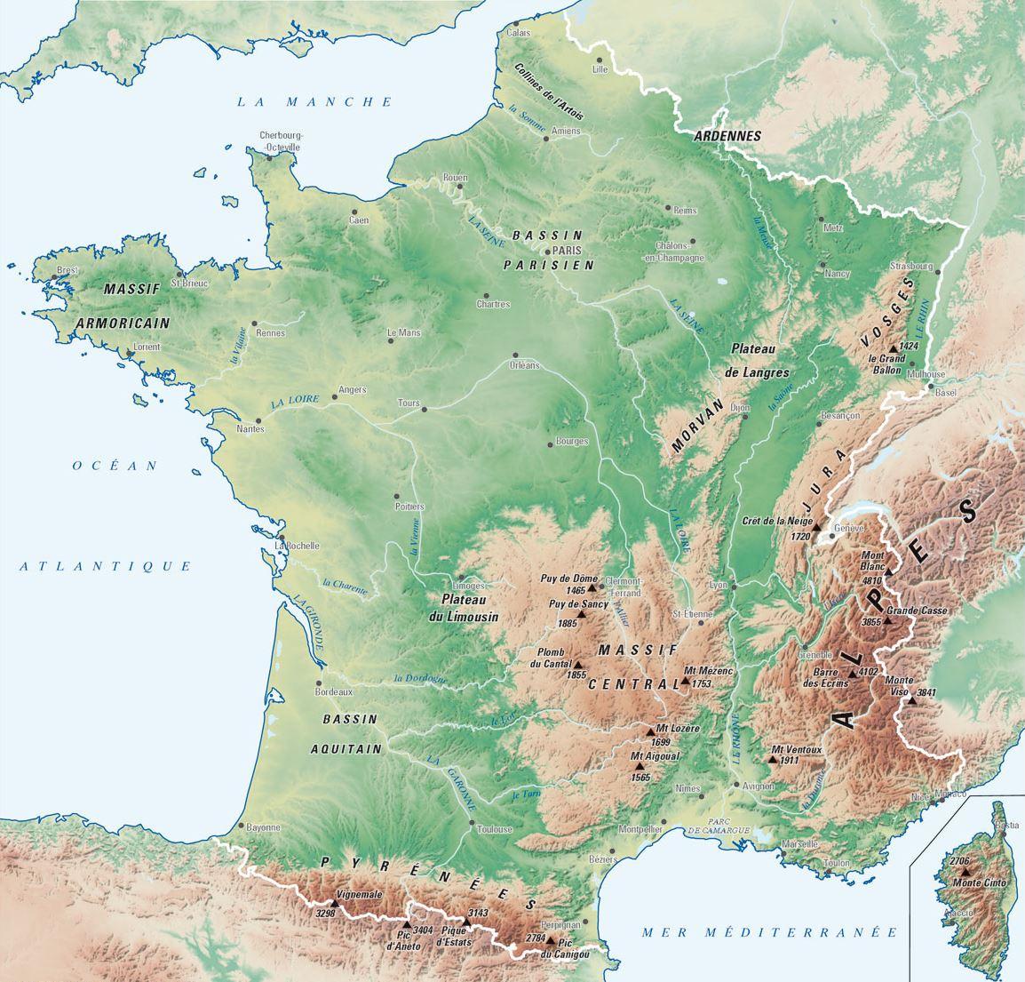 Carte France Villes : Carte Des Villes De France intérieur Carte Des Régions À Compléter