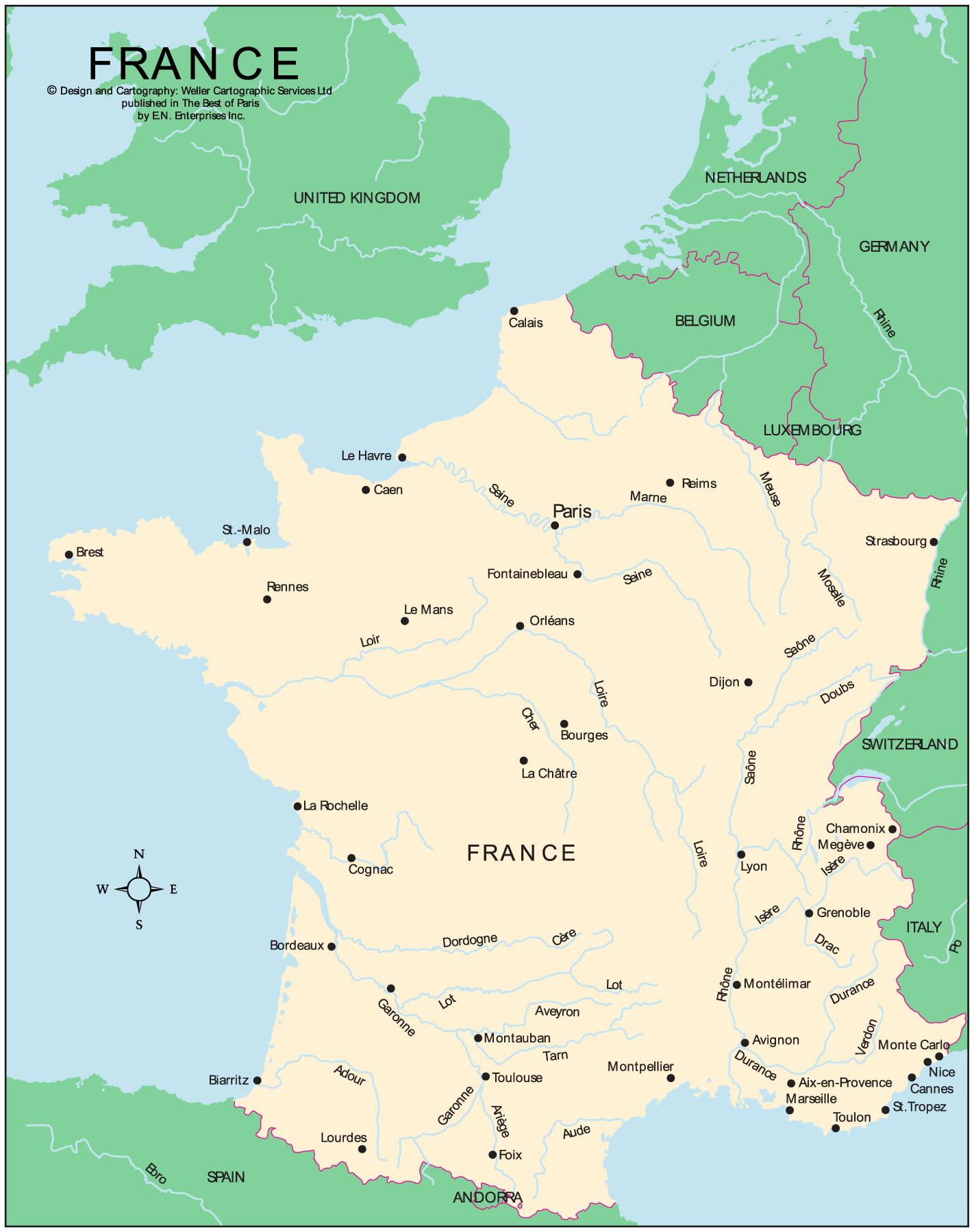 Carte Frontières De France, Carte Des Frontières De France à Carte Des Fleuves En France