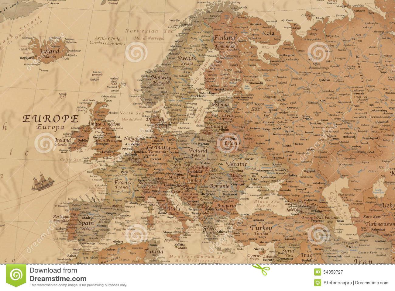 Carte Géographique Antique De L'europe Image Stock - Image encequiconcerne Carte Géographique Europe