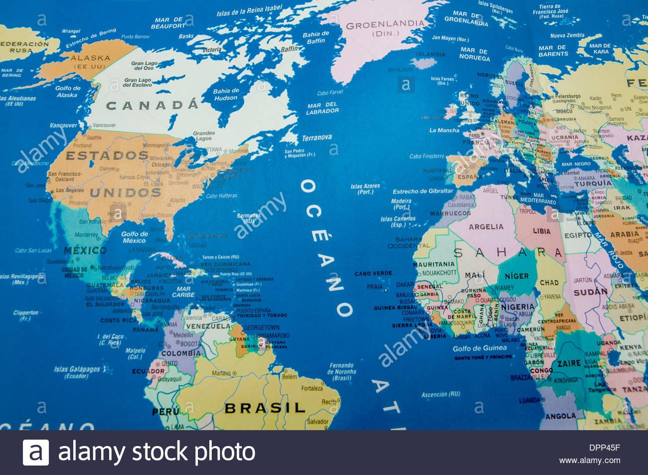 Carte Géographique De L'amérique Et L'europe Banque D'images tout Carte Géographique Europe