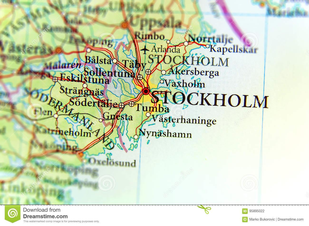 Carte Géographique De Pays Européen Suède Avec Le Capital De tout Carte De L Europe Avec Capitale