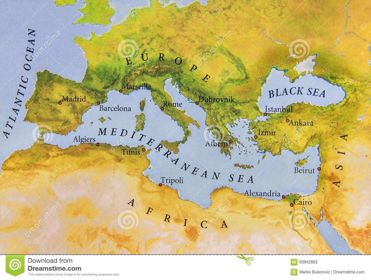 Carte Géographique De Vue De Fin De L'europe Image Stock concernant Carte Géographique Europe