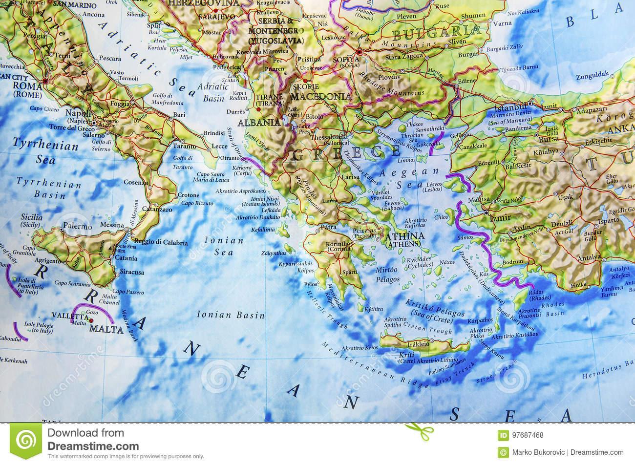 Carte Géographique D'une Partie De L'europe Photo Stock destiné Carte Géographique Europe
