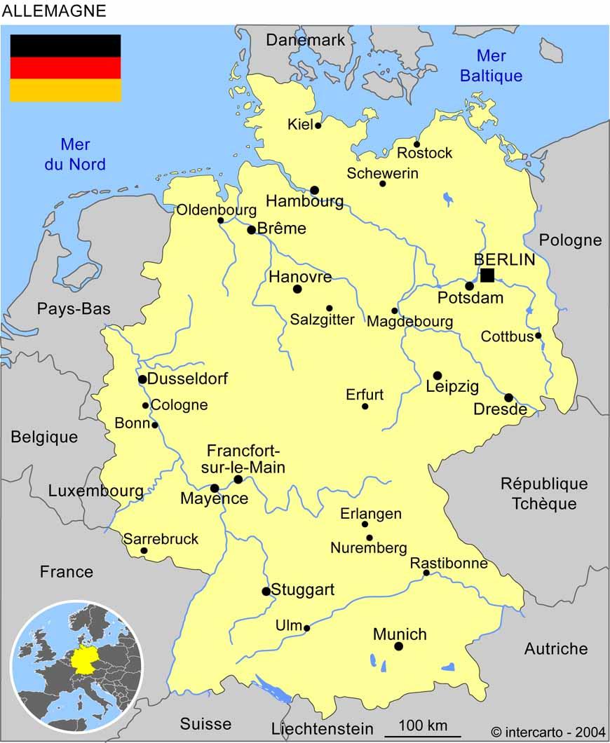 Carte Géographique Et Touristique De L'allemagne, Berlin intérieur Carte Geographique Du France