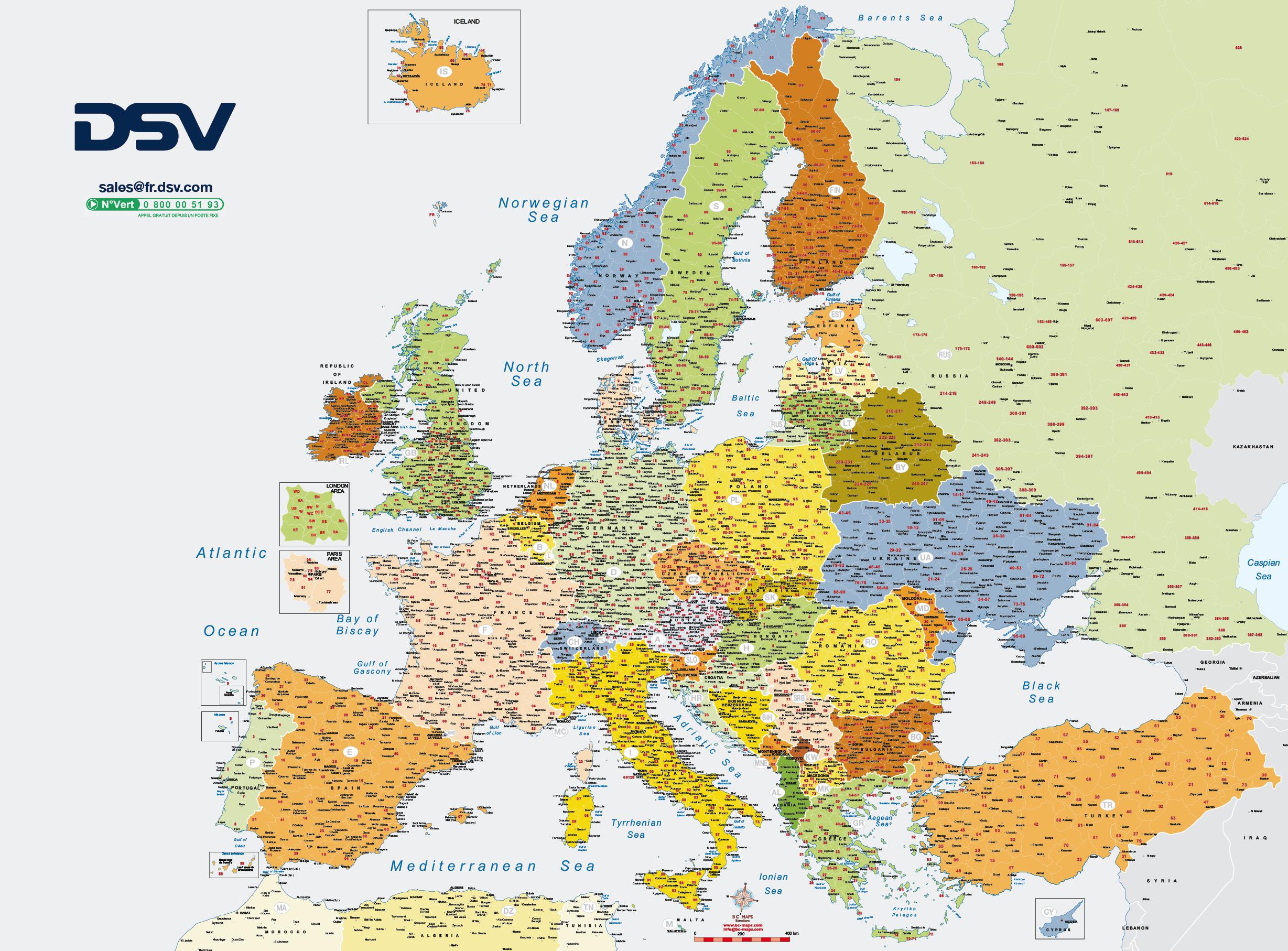 Carte Géographique Pliée Europe Codes Postaux Dsv Bc Maps avec Carte D Europe 2017