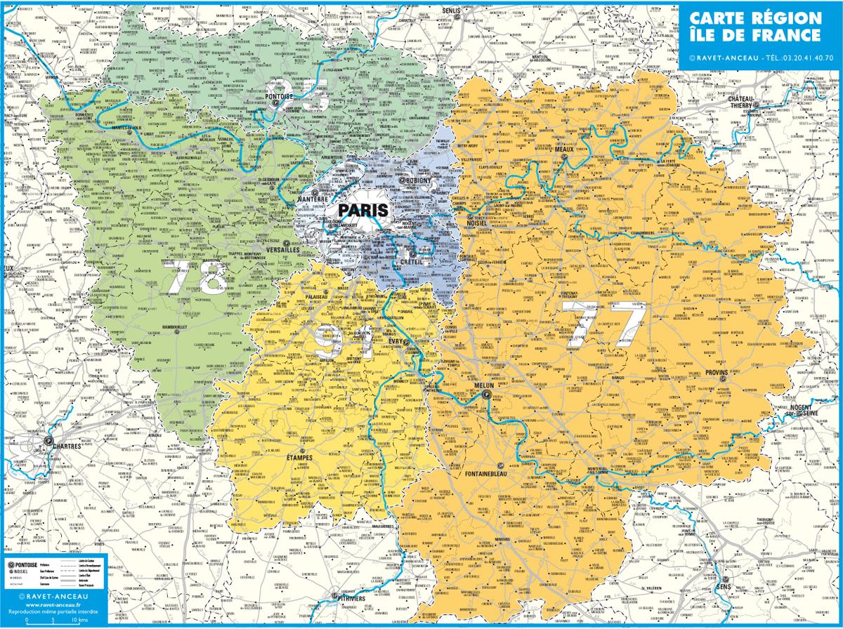 Carte Île-De-France (Grand Format) dedans Carte De France Grand Format