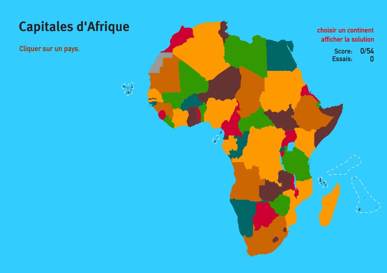 Carte Interactive D'afrique Capitales D'afrique. Jeux De dedans Jeux Géographique