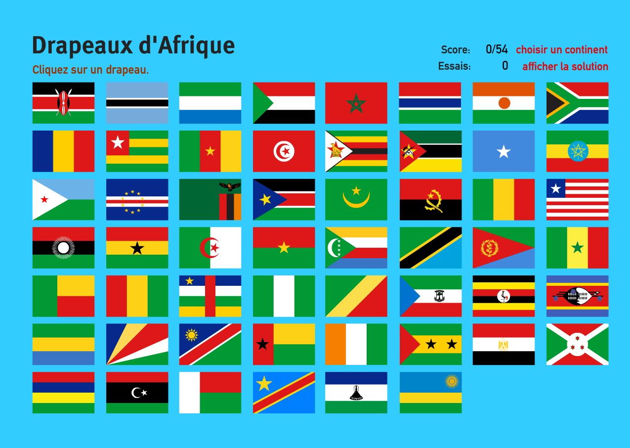 Carte Interactive D'afrique Drapeaux D'afrique. Jeux De intérieur Jeux Geographique