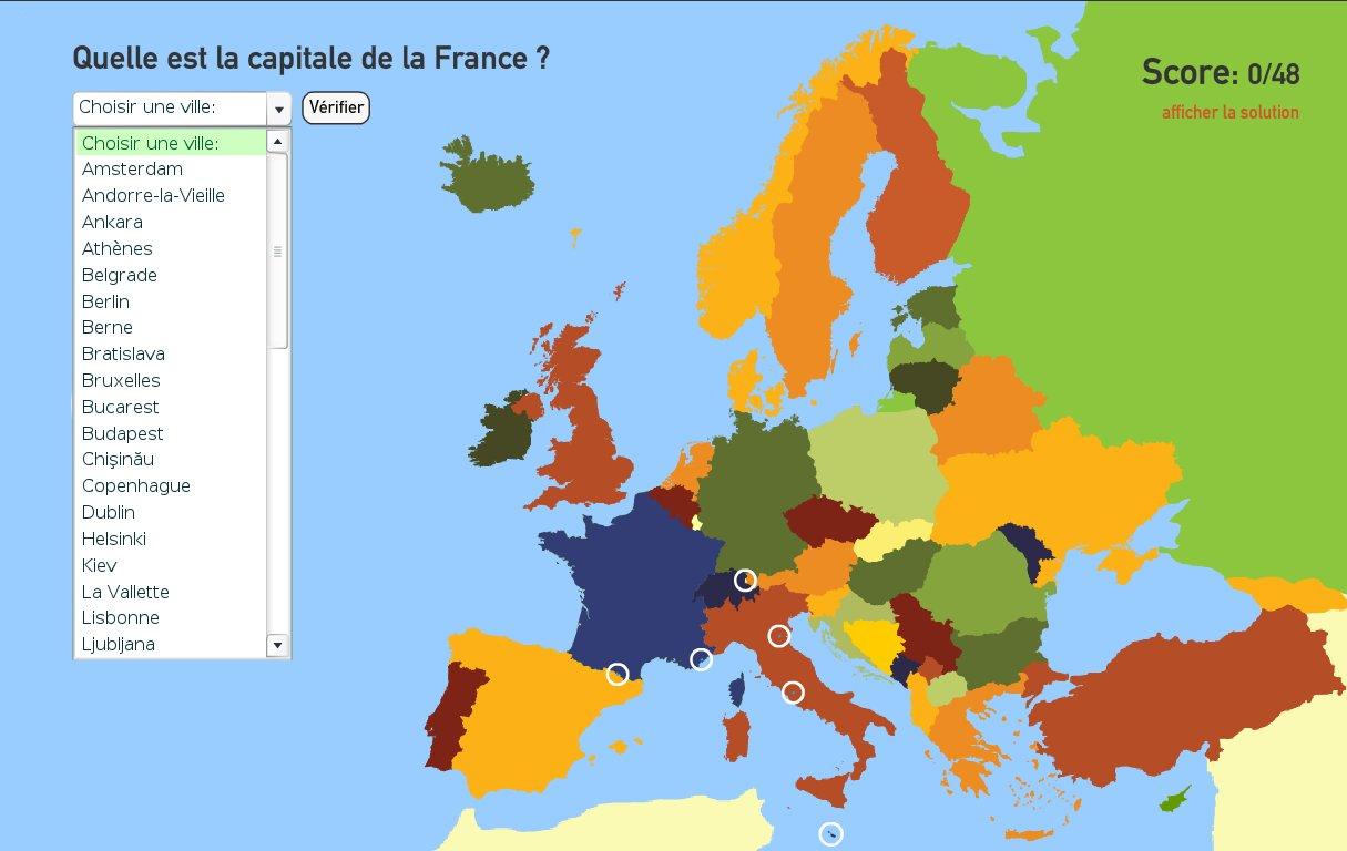 Carte Interactive D'europe Capitales De L'europe. Toporopa avec Carte Capitale Europe