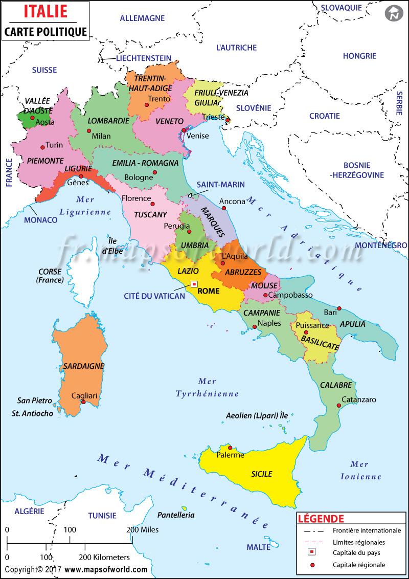 Carte Italie   Carte De L'italie serapportantà Carte Des Régions De France À Imprimer Gratuitement