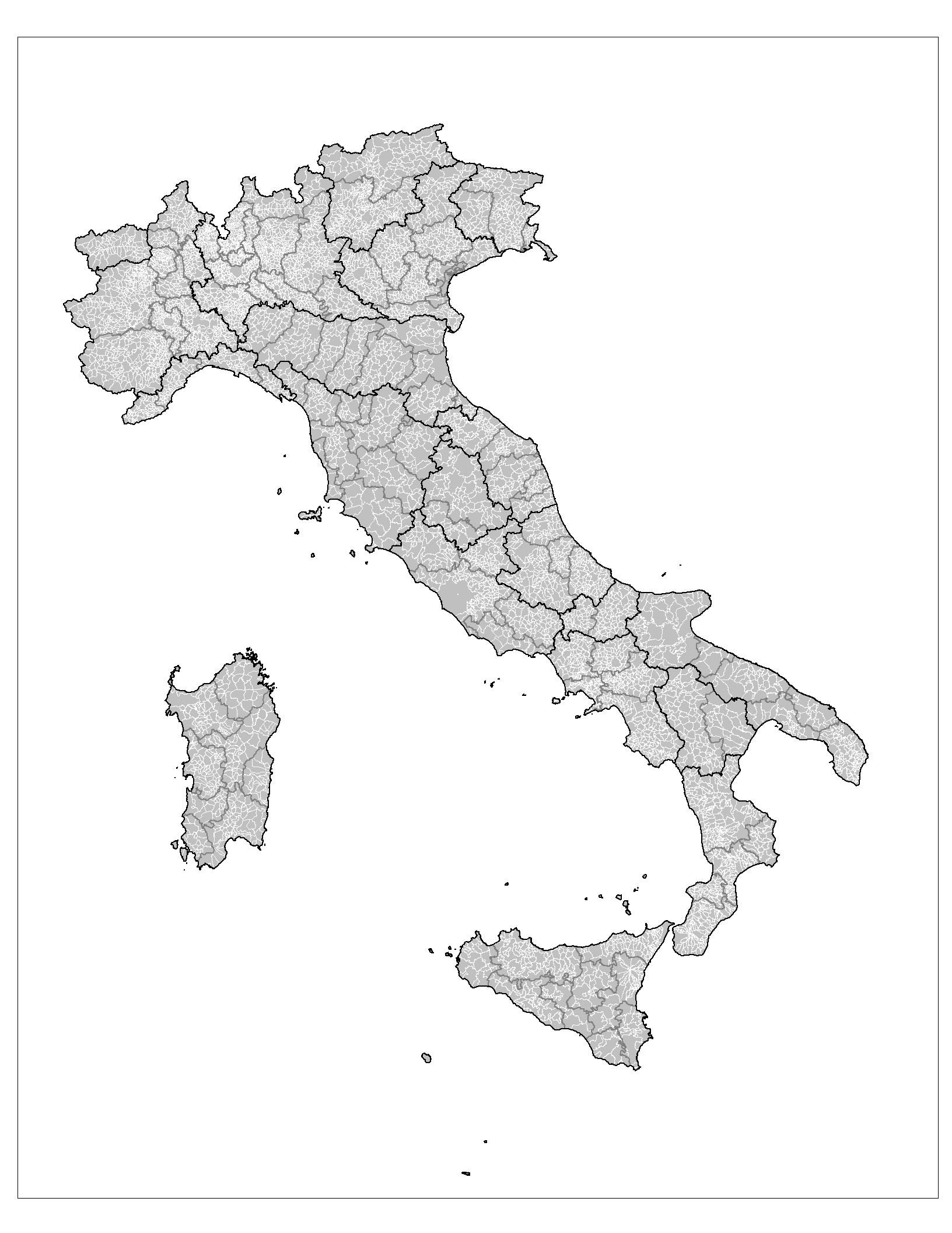 Carte Italie Vierge Départements, Carte Vierge Des dedans Carte Département Vierge