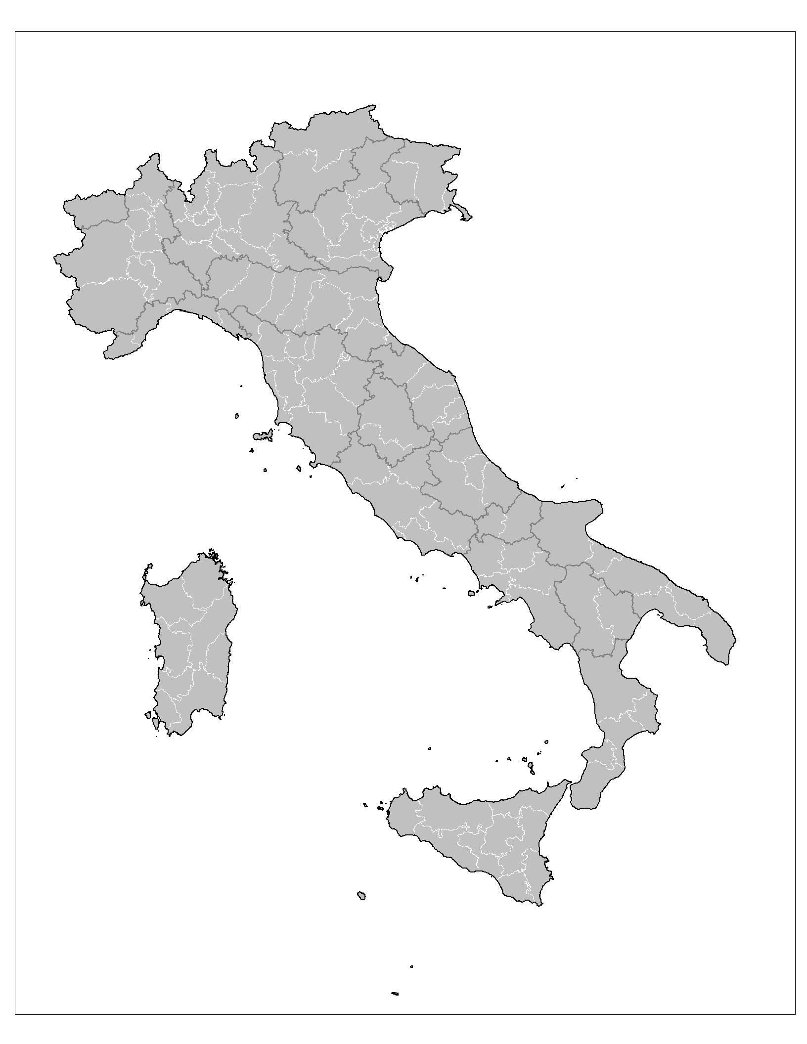 Carte Italie Vierge Numéros Régions, Carte Vierge Des destiné Carte Des Régions Vierge