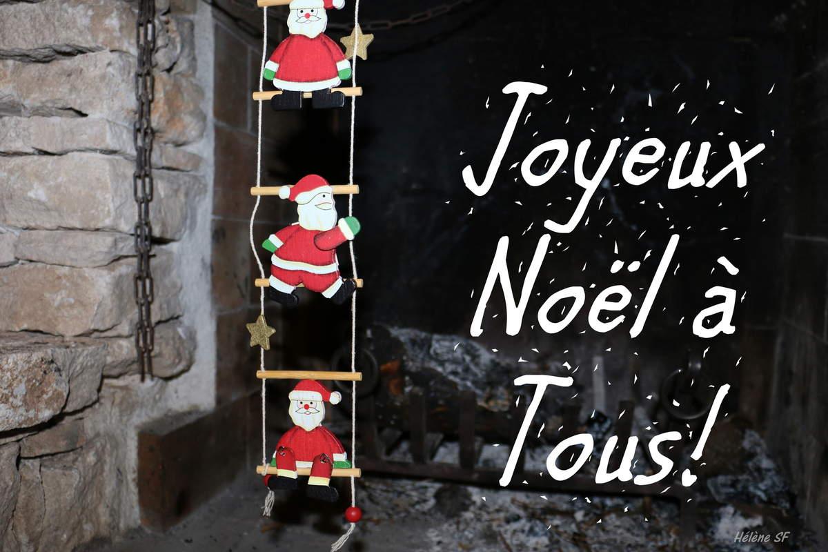 Carte Joyeux Noël À Tous Avec Père Noël Et Cheminée - Hélène Sf à Carte Joyeux Noel À Imprimer