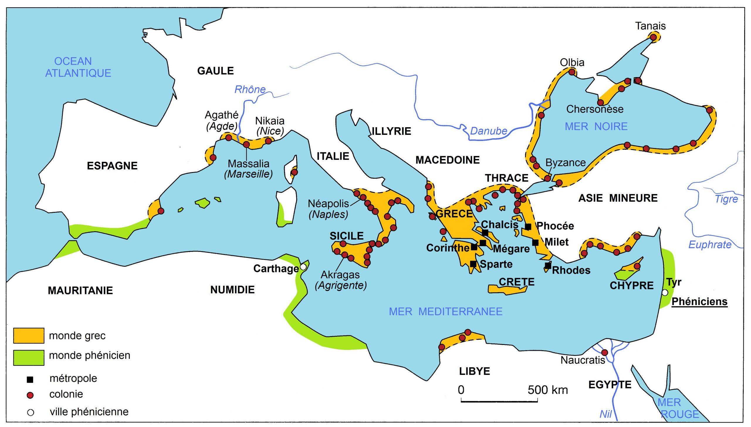 Carte : La Méditerranée Grecque Au V° Siècle Avant Jésus à Carte Des Régions À Compléter