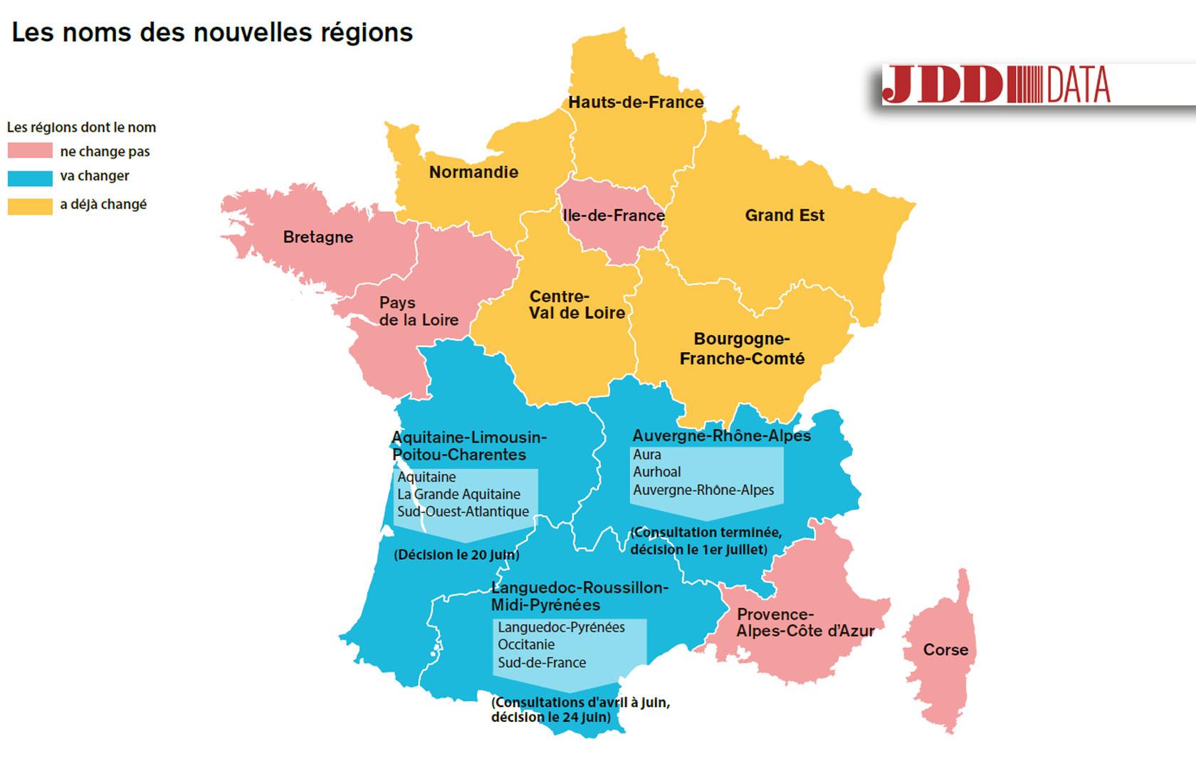 Carte. L'alsace-Champagne-Ardenne-Lorraine Se Rebaptise intérieur Liste Des Régions De France