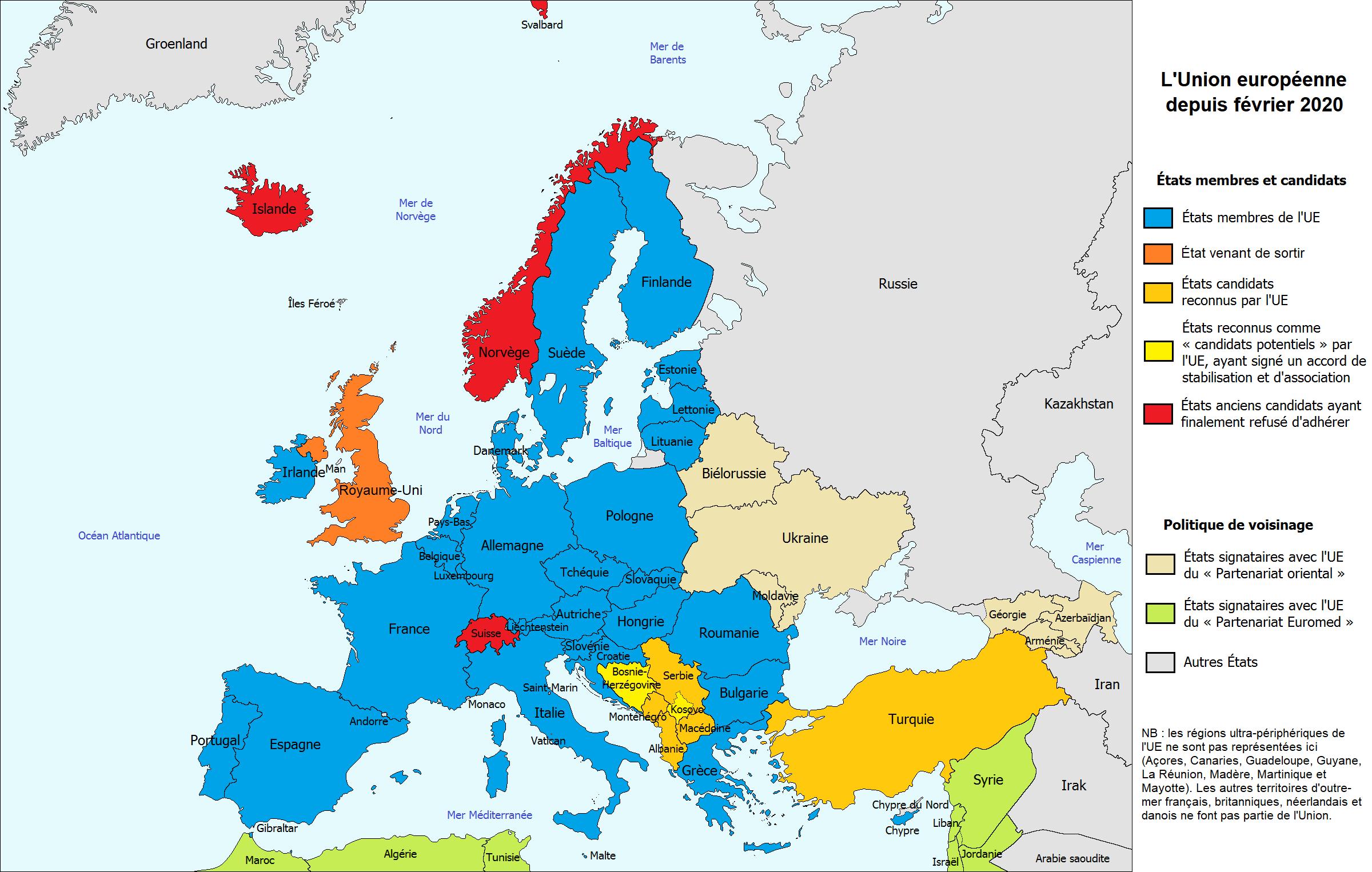 Carte : L'union Européenne - Librecours.eu intérieur Carte Des Pays Membres De L Ue