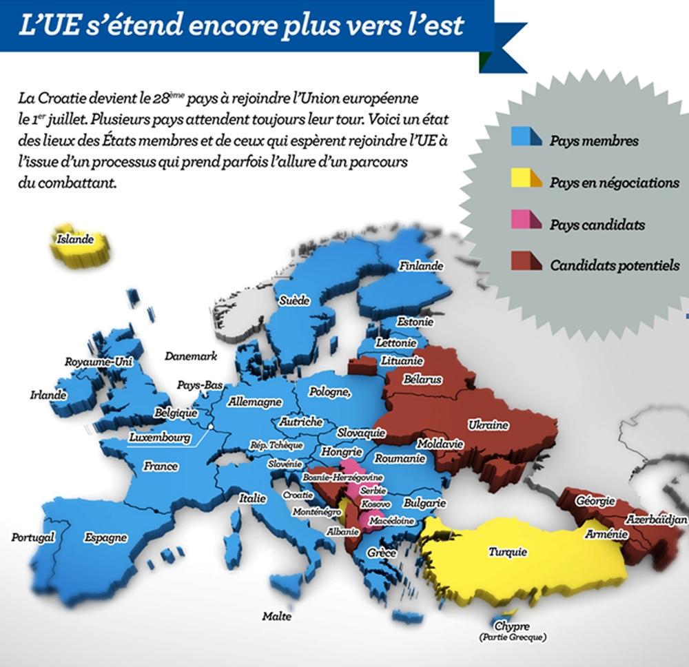 Carte. L'union Européenne S'étend Encore Plus Vers L'est pour Carte Union Européenne 28 Pays