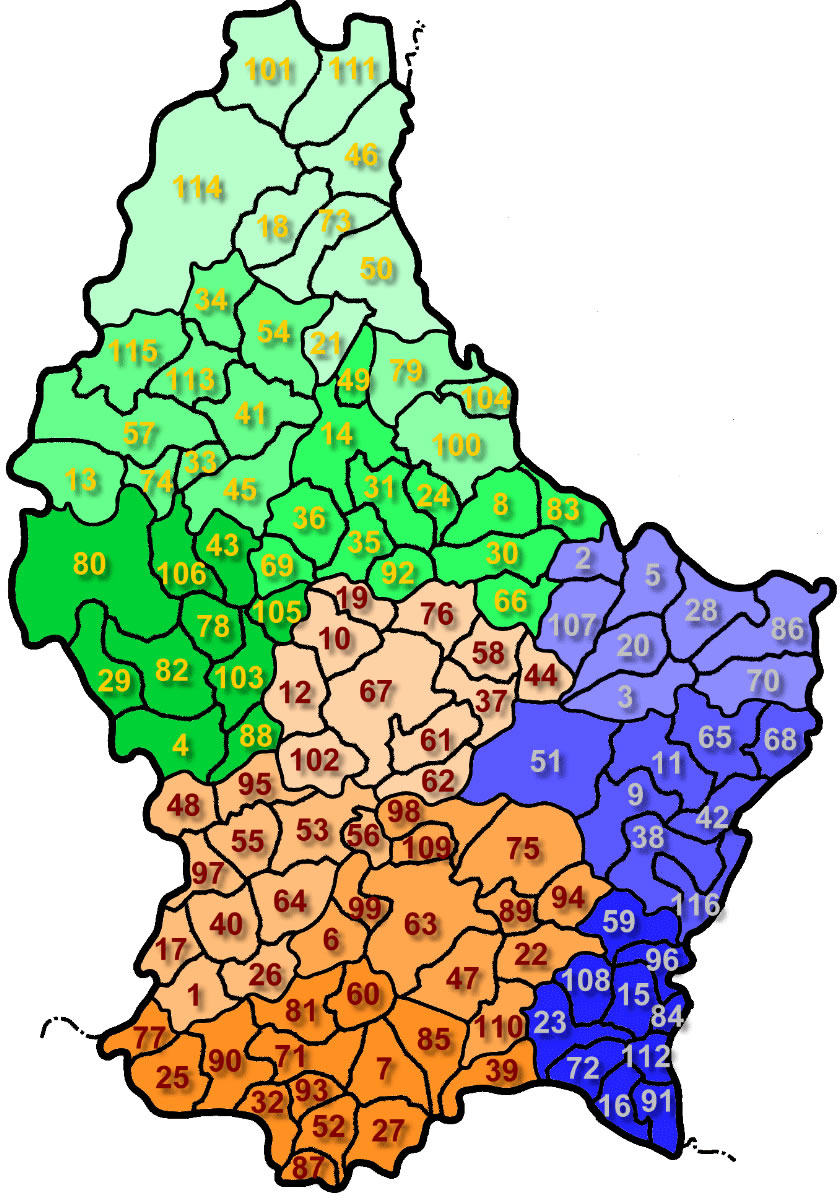 Carte Luxembourg Vierge Numéros Régions, Carte Vierge Des dedans Carte Departement Numero