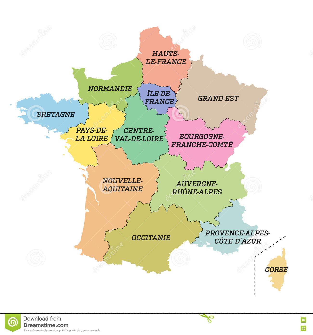 Carte Métropolitaine De Frances Avec De Nouvelles Régions avec Carte Des Nouvelles Régions