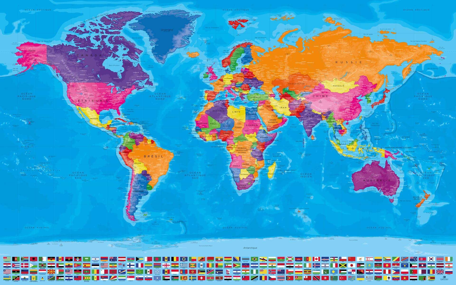 Carte Monde Complète Drapeaux - Manarola à Carte Du Monde Avec Capitale