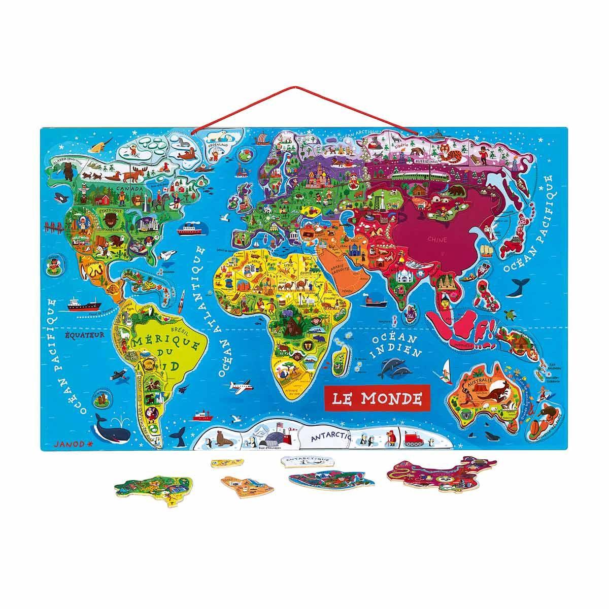 Carte Monde Magnétique Janod Pour Enfant Dès 6 Ans - Oxybul avec Carte Du Monde Enfant