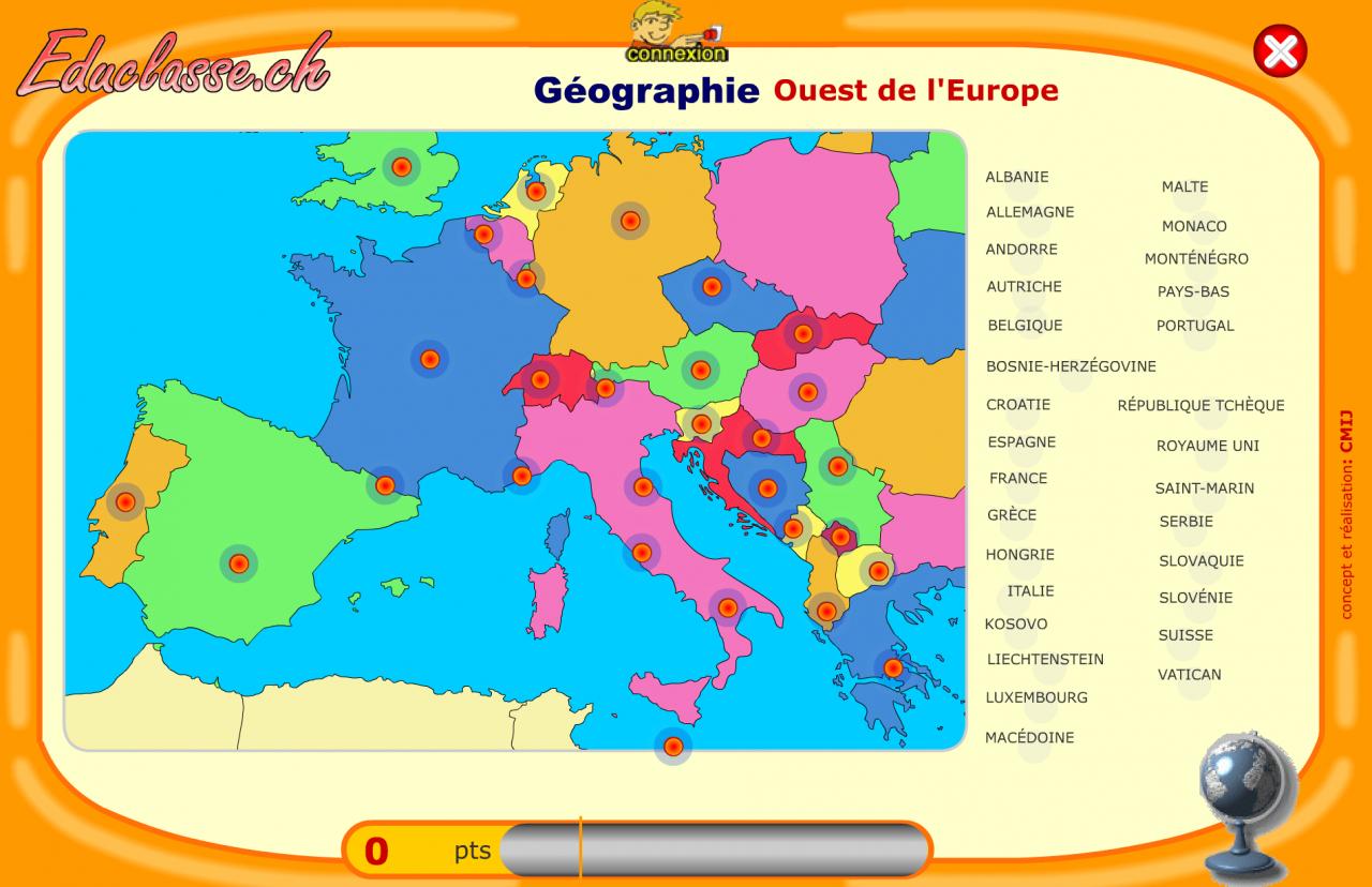 Carte Murale Europe à Carte Europe Pays Capitales