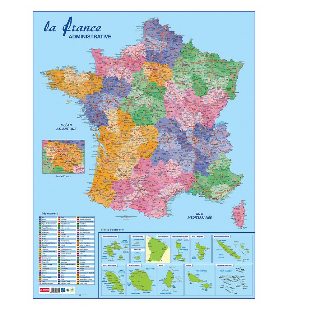 Carte Murale France Administrative Effaçable Bouchut 84X66Cm tout Carte France D Outre Mer