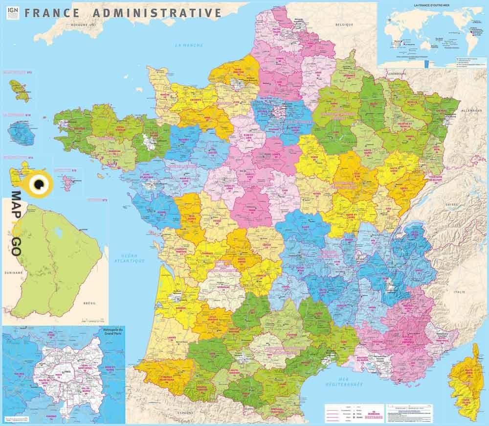 Carte Murale Plastifiée De La France Administrative Avec Les Nouvelles  Régions 115X100 Cm - Ign France - Maptogo serapportantà Carte De France Avec Les Régions