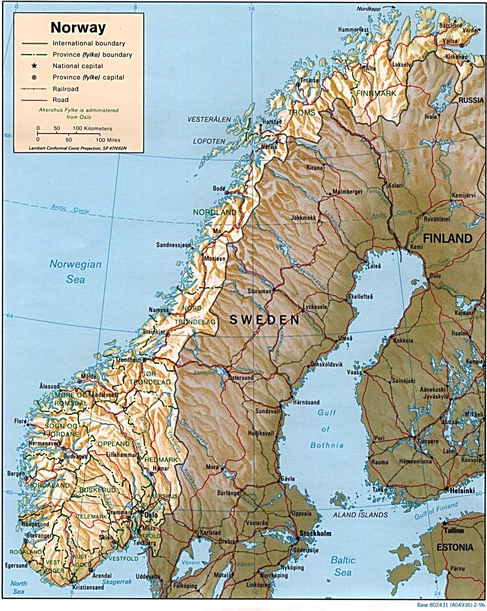 Carte Norvège, Carte De Norvège pour Carte Géographique De L Europe