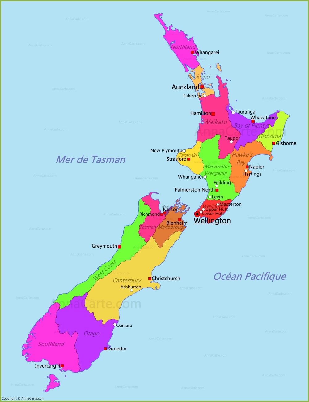 Carte Nouvelle Zelande serapportantà Nouvelle Carte Region