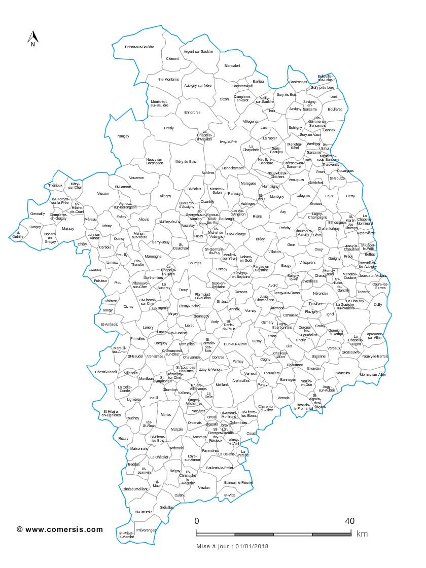 Carte Personnalisable Des Villes Et Communes Du Cher tout Petite Carte De France A Imprimer