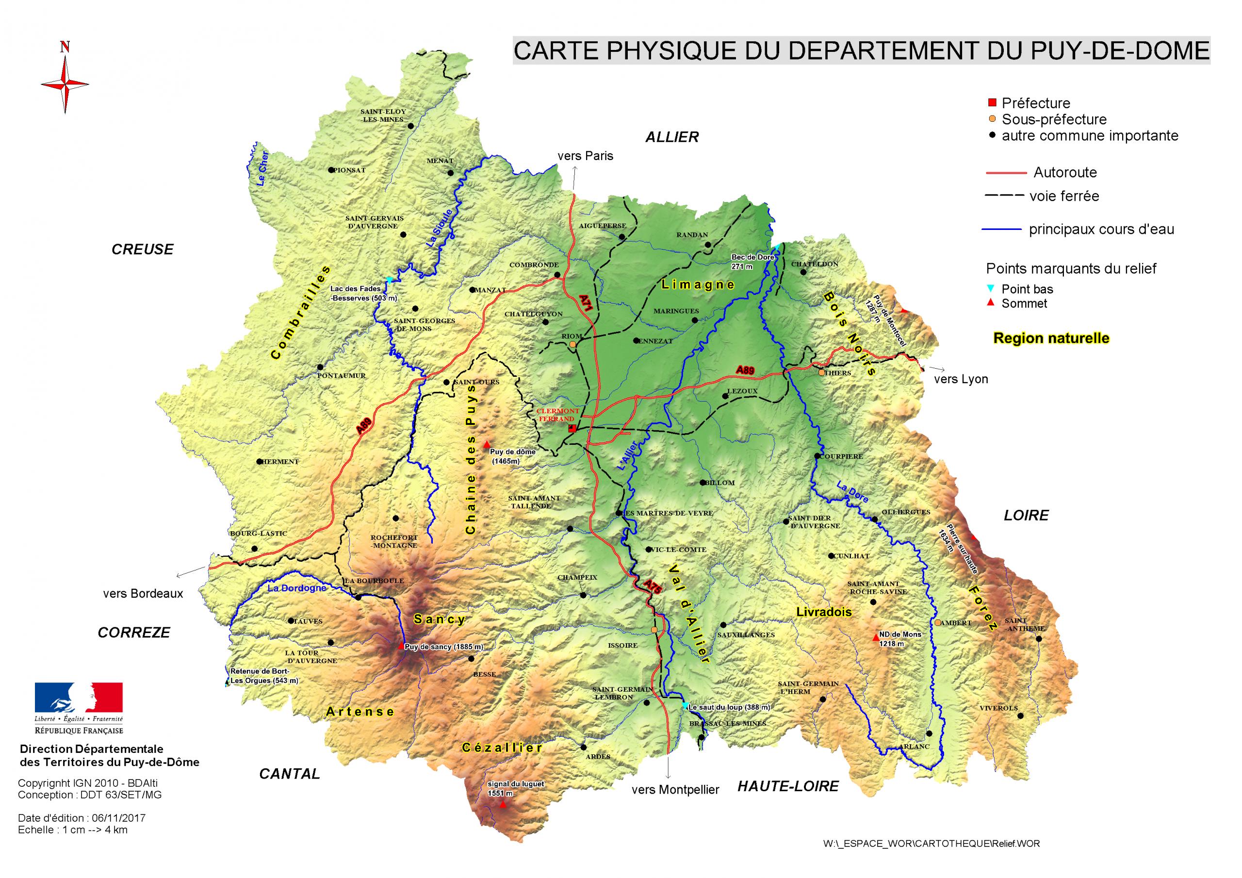 Carte Physique Du Département Du Puy-De-Dôme - Internet Des avec Carte Avec Les Departement