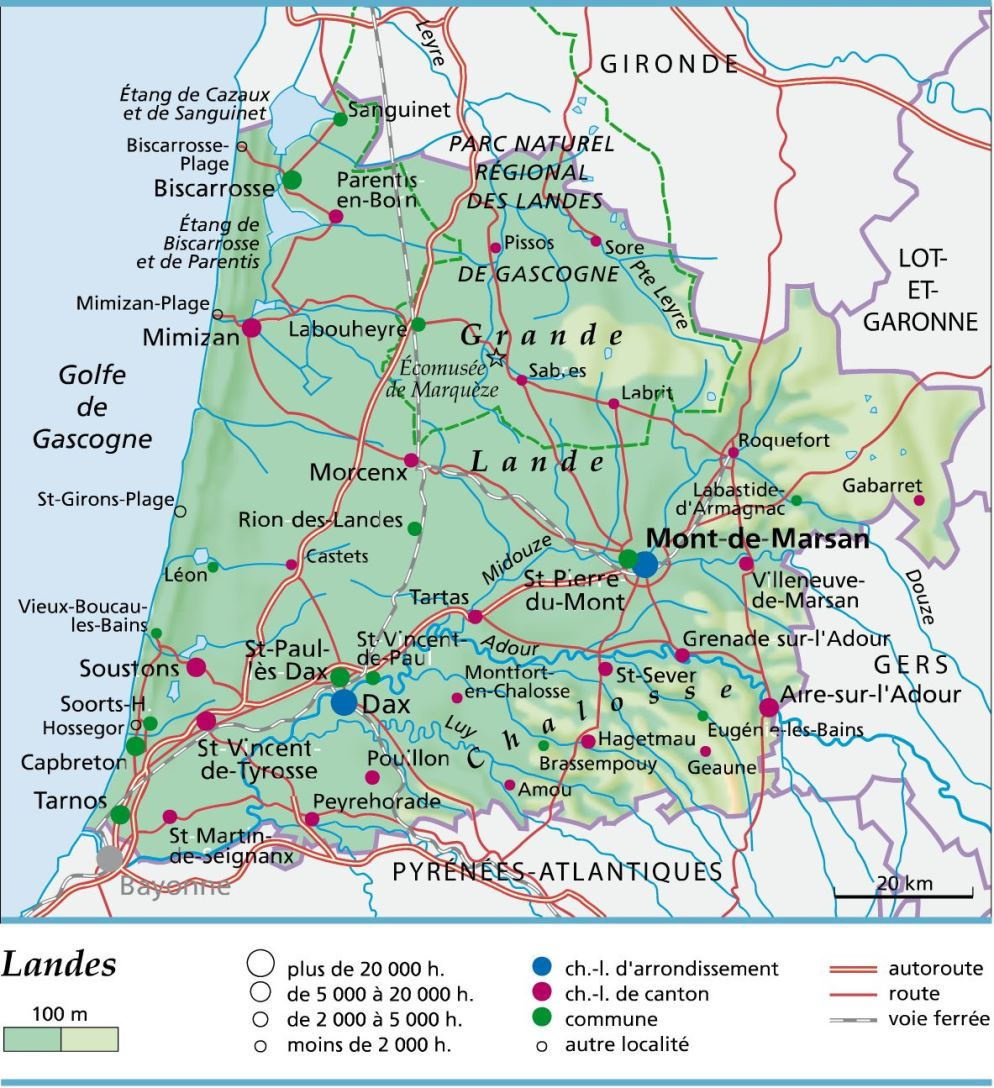 Carte, Plan Et Itinéraire Département Landes 40 dedans Carte Départementale De La France