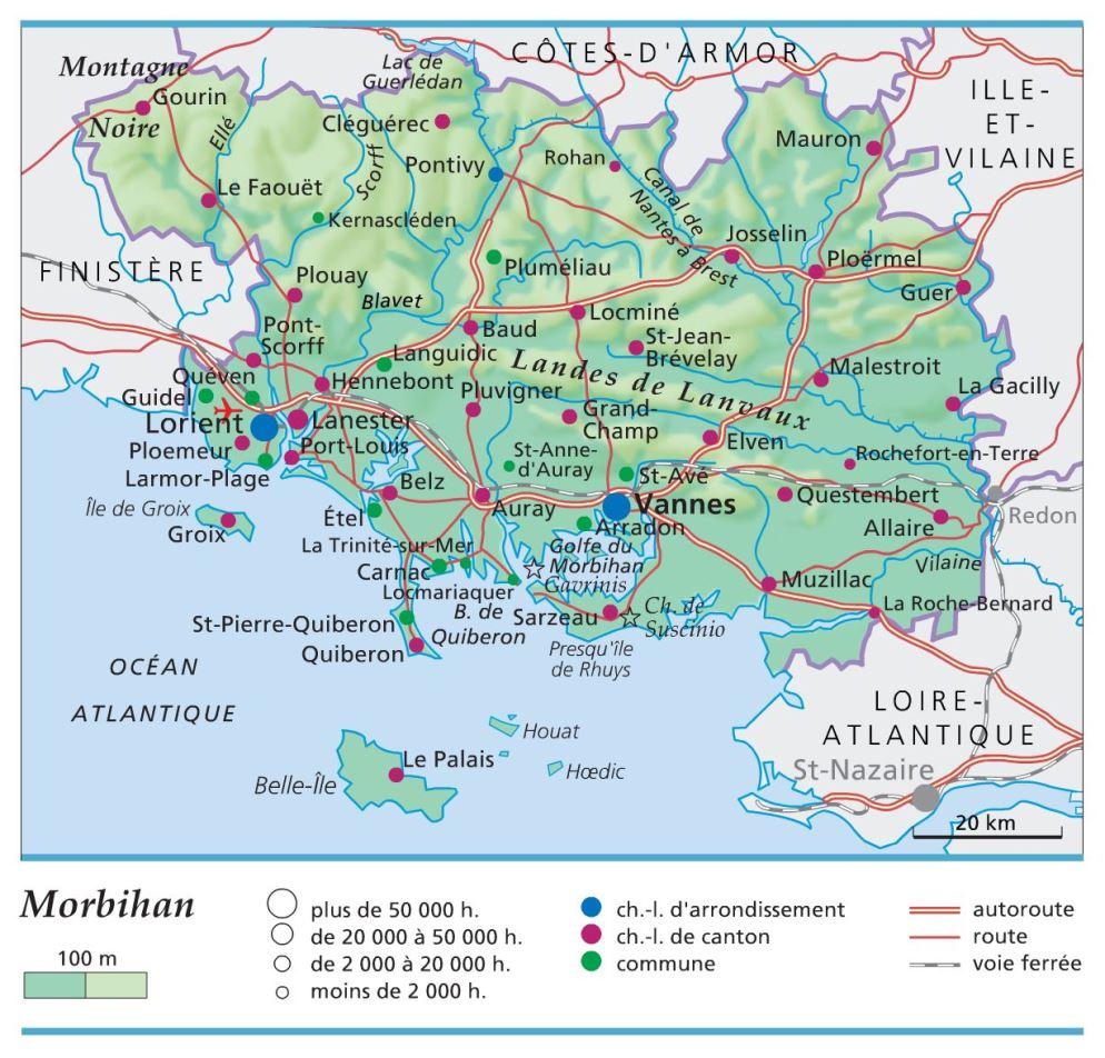 Carte, Plan Et Itinéraire Département Morbihan 56 intérieur Carte Avec Departement