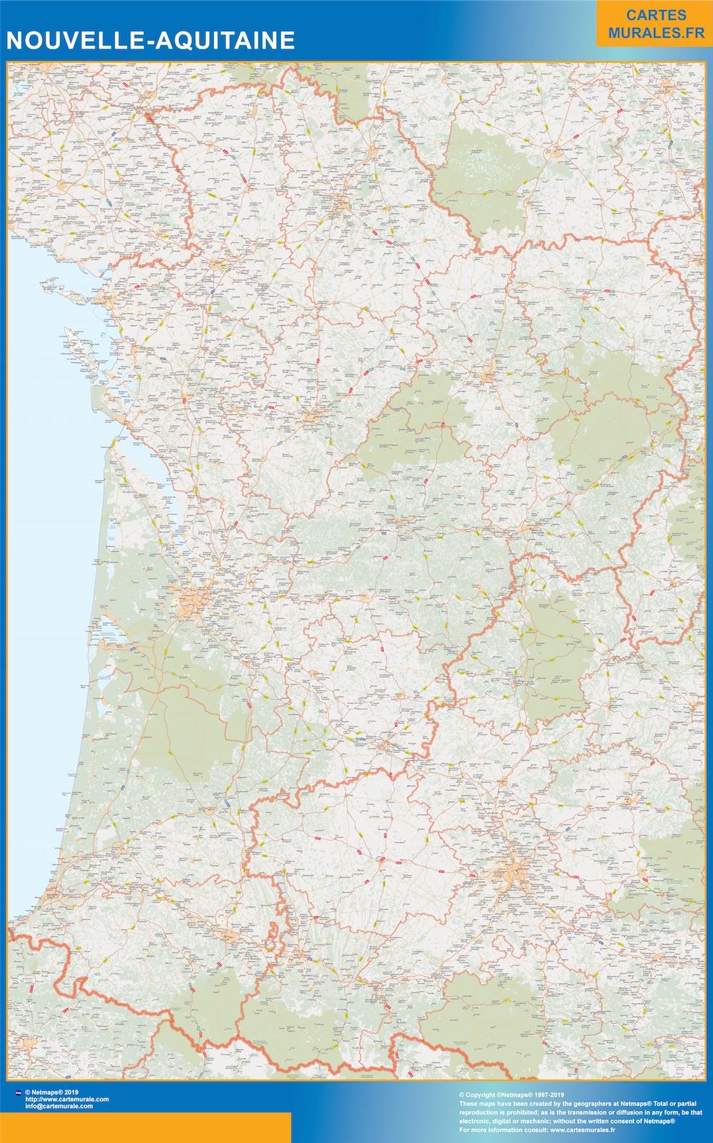 Carte Plastifiée Région Nouvelle Aquitaine destiné Nouvelle Carte Des Régions De France