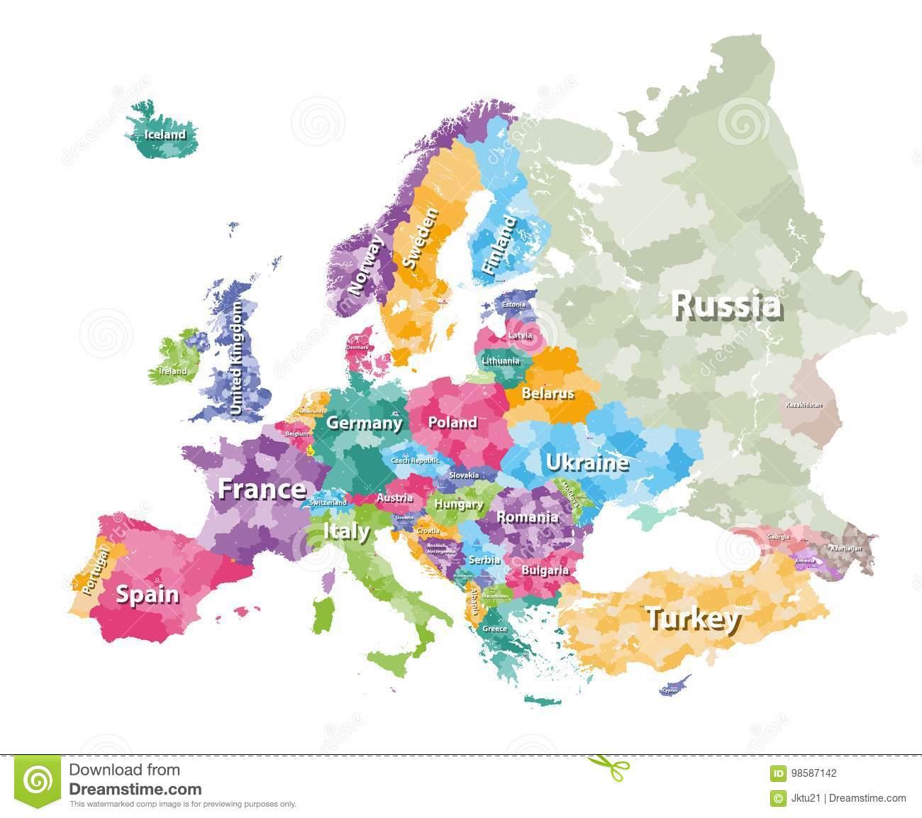Carte Politique Colorée De L'europe Avec Des Régions De ` De dedans Carte D Europe Avec Pays