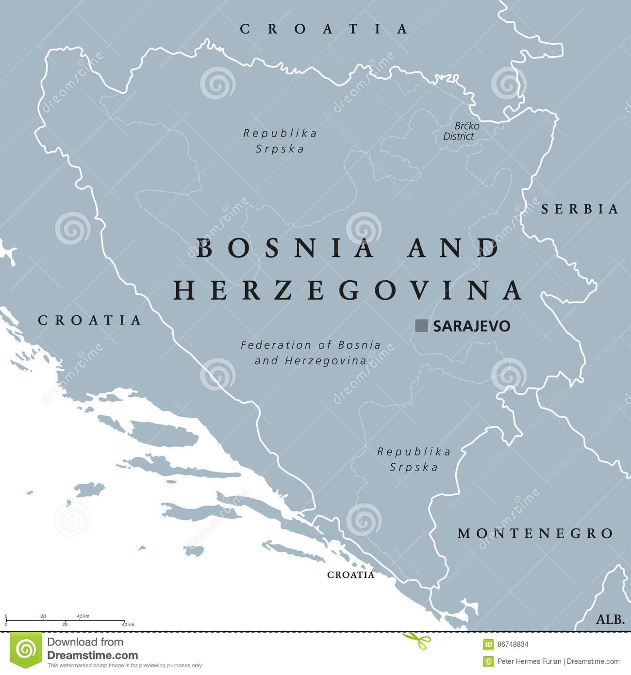 Carte Politique De La Bosnie-Herzégovine Avec La Capitale pour Carte Capitale Europe