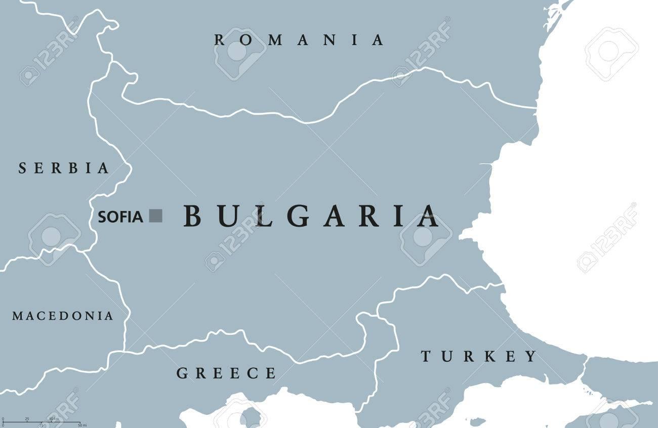 Carte Politique De La Bulgarie Avec La Capitale Sofia, Les Frontières  Nationales Et Les Pays Voisins. République Et Pays Du Sud-Est De L'europe. avec Carte Capitale Europe