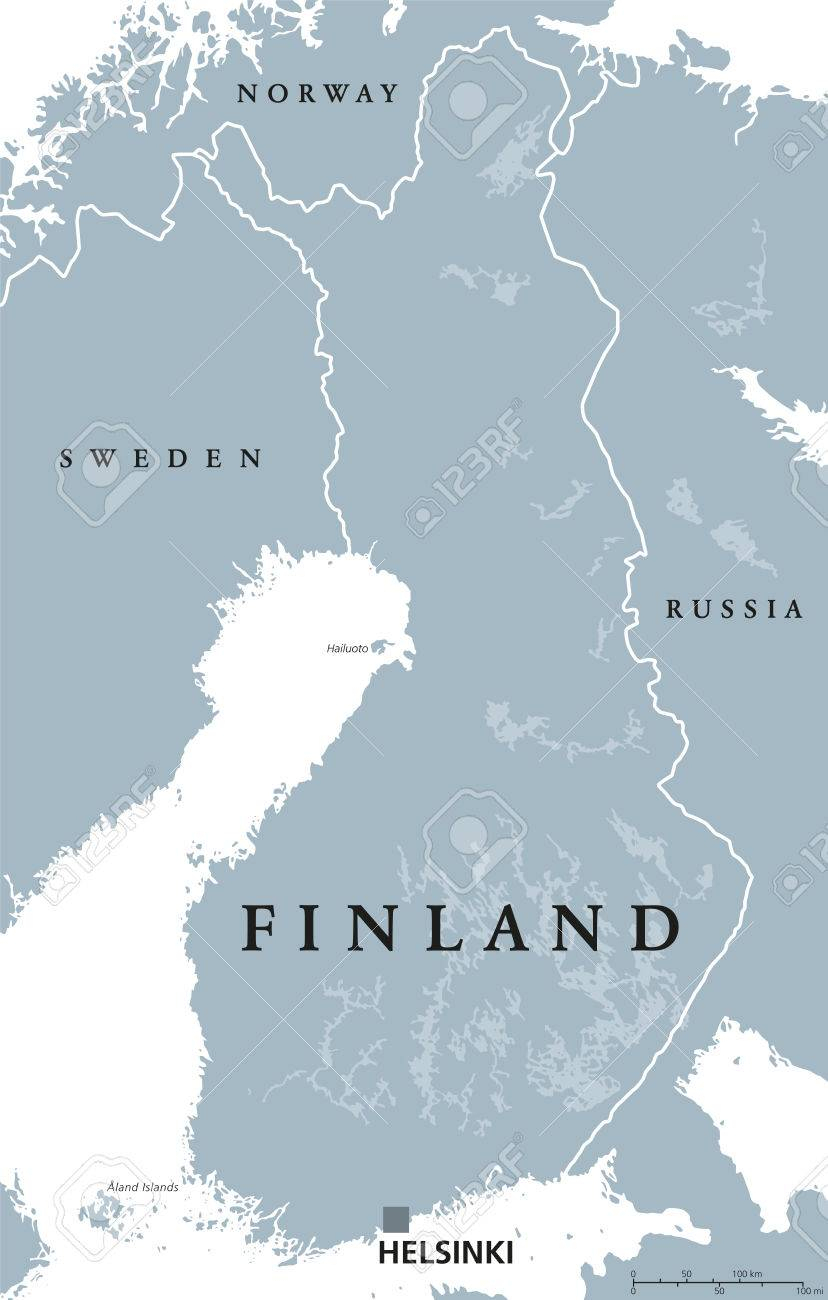 Carte Politique De La Finlande Avec La Capitale Helsinki, Les Frontières  Nationales Et Les Pays Voisins. République Et Etat D'europe Du Nord. avec Carte Europe Capitale